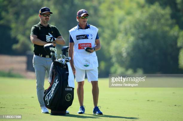 Mikko Korhonen and his caddie Nick Mumford on the 3rd hole during Day Two of the DP World Tour Championship Dubai at Jumeirah Golf Estates on...
