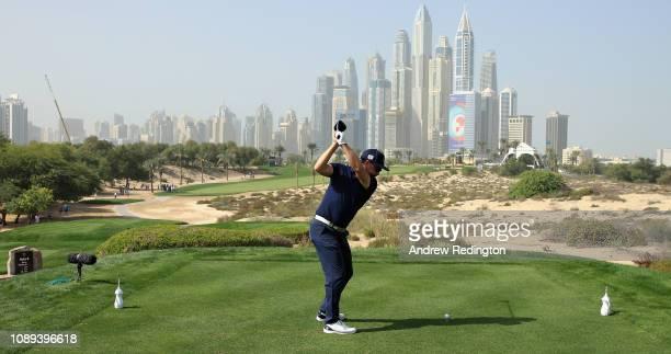 Mikko Korhonen of Finaldn takes his tee shot on hole eight during Day Three of the Omega Dubai Desert Classic at Emirates Golf Club on January 26,...
