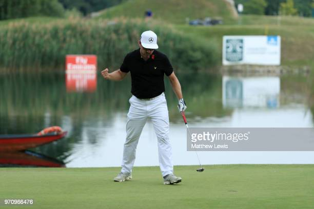 Mikko Korhonen of Finland celebrates after his winning put during day four of The 2018 Shot Clock Masters at Diamond Country Club on June 10, 2018 in...