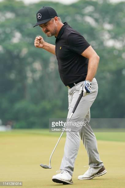 Mikko Korhonen of Finland celebrates after winning the 2019 Volvo China Open at Genzon Golf Club on May 5, 2019 in Shenzhen, China.