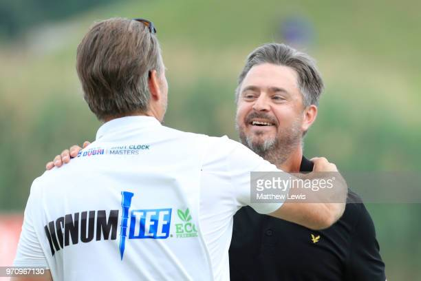 Mikko Korhonen of Finland celebrates with his caddy after winning The 2018 Shot Clock Masters during day four of The 2018 Shot Clock Masters at...