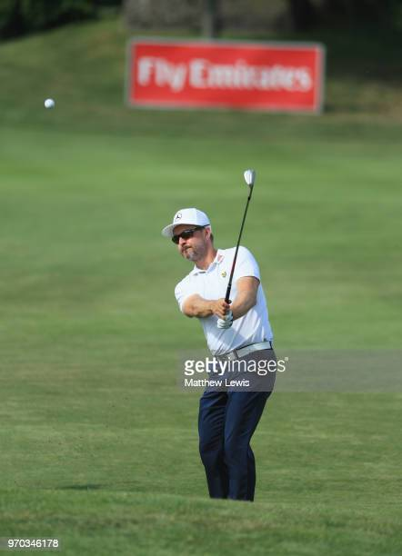 Mikko Korhonen of Finland chips onto the 15th green during day three of the 2018 Shot Clock Masters at Diamond Country Club on June 9 2018 in...