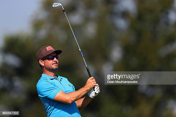 Mikko Korhonen of Finland hits his second shot on the 9th during the first round on day one of the KLM Open at The Dutch on September 8 2016 in Spijk...