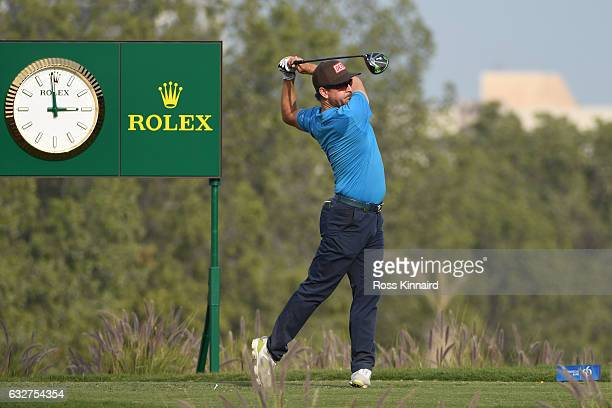Mikko Korhonen of Finland hits his tee shot on the ninth hole during the first round of the Commercial Bank Qatar Masters at the Doha Golf Club on...