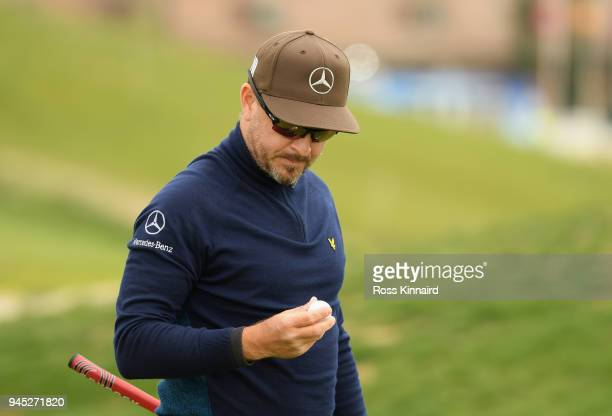 Mikko Korhonen of Finland looks at his ball during day one of Open de Espana at Centro Nacional de Golf on April 12 2018 in Madrid Spain