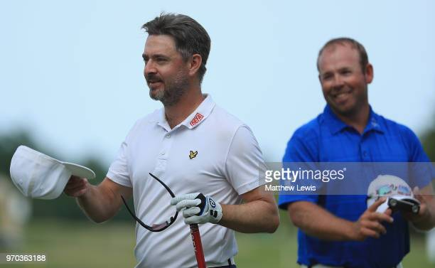 Mikko Korhonen of Finland looks on, after his round with Justin Walters of South Africa during Day Three of The 2018 Shot Clock Masters at Diamond...