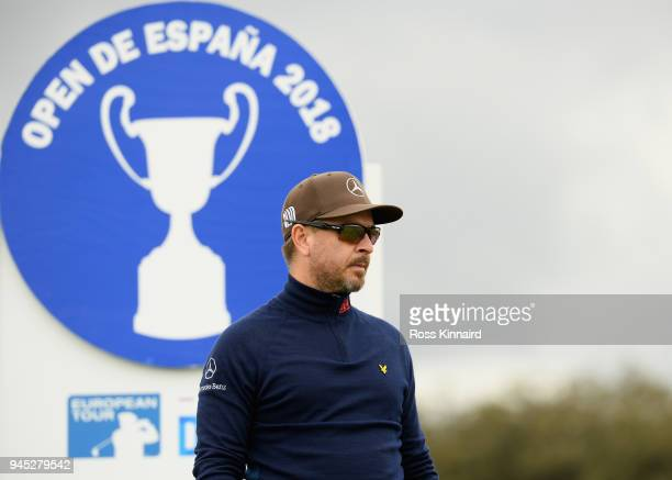 Mikko Korhonen of Finland looks on at the 15th tee during day one of Open de Espana at Centro Nacional de Golf on April 12, 2018 in Madrid, Spain.