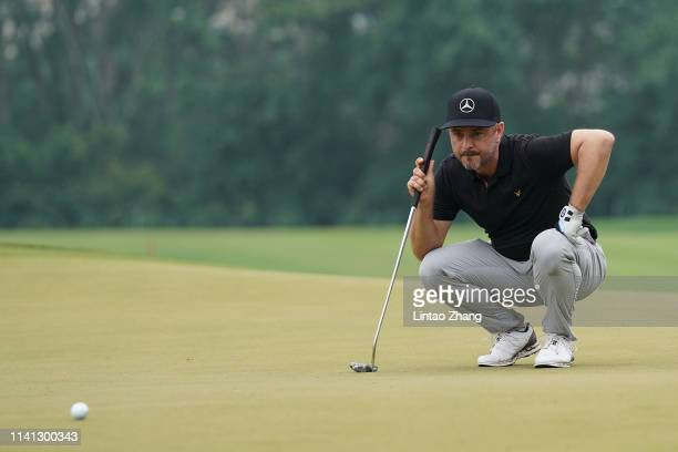 Mikko Korhonen of Finland looks on before plays a shot during the final round of the 2019 Volvo China Open at Genzon Golf Club on May 5 2019 in...