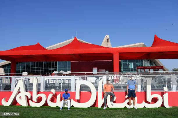 Mikko Korhonen of Finland Mikko Ilonen of Finland and Tapio Pulkkanen of Finland pose for a photo during practice rounds for the Abu Dhabi HSBC Golf...