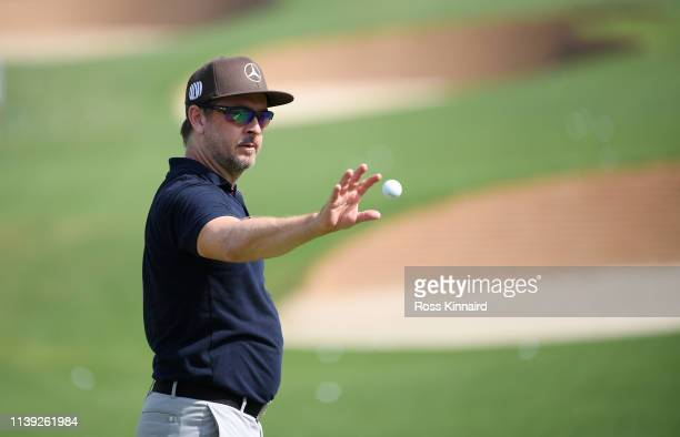 Mikko Korhonen of Finland on the driving range during the third round of the Hero Indian Open at the DLF Golf & Country Club on March 30, 2019 in New...