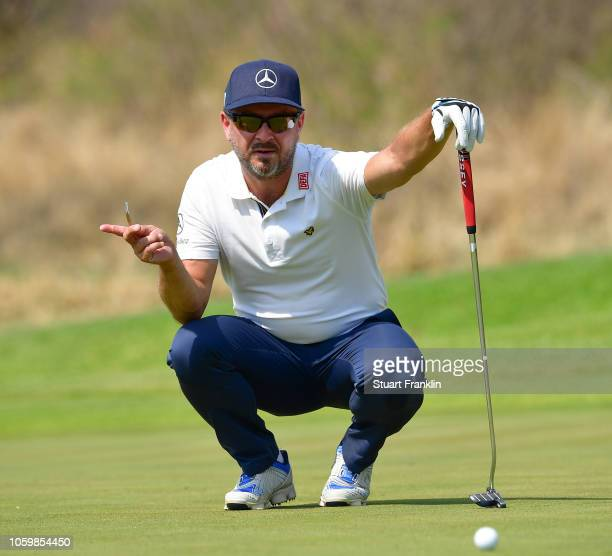 Mikko Korhonen of Finland pgestures during the third round of the Nedbank Golf Challenge at Gary Player CC on November 10 2018 in Sun City South...