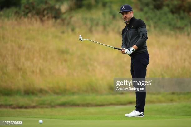 Mikko Korhonen of Finland plays a putt on the 4th hole green during Day 1 of the Betfred British Masters at Close House Golf Club on July 22, 2020 in...