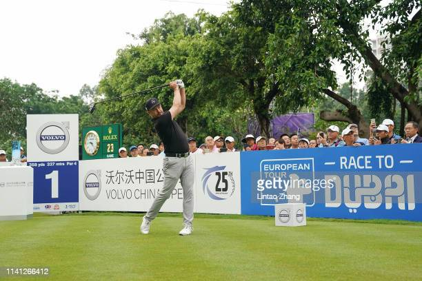 Mikko Korhonen of Finland plays a shot during the final round of the 2019 Volvo China Open at Genzon Golf Club on May 5 2019 in Shenzhen China