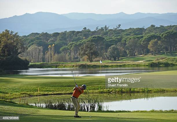 Mikko Korhonen of Finland plays a shot during the final round of the European Tour qualifying school final stage at PGA Catalunya Resort on November...