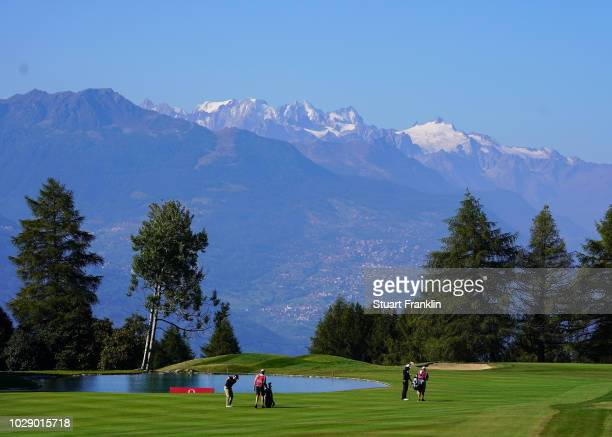 Mikko Korhonen of Finland plays a shot during the third round of The Omega European Masters at CranssurSierre Golf Club on September 8 2018 in...