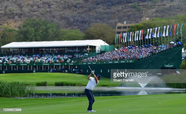 Mikko Korhonen of Finland plays a shot on the 18th hole during the third round of the Nedbank Golf Challenge at Gary Player CC on November 10, 2018...