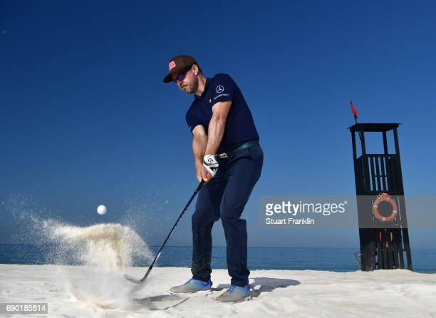 Mikko Korhonen of Finland plays a shot on the beach prior to the start of The Rocco Forte Open at Verdura Golf and Spa Resort on May 16 2017 in...
