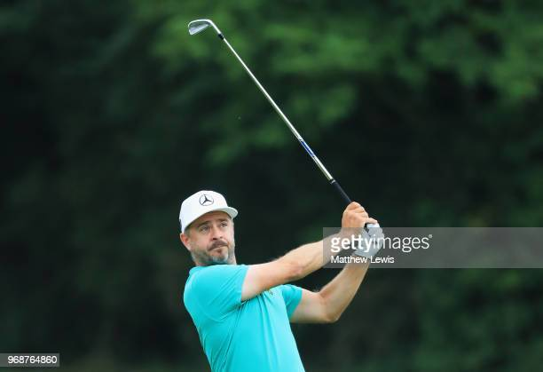 Mikko Korhonen of Finland plays his second shot on the 11th hole during day one of the 2018 Shot Clock Masters at Diamond Country Club on June 7 2018...