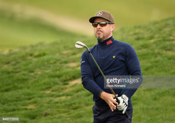 Mikko Korhonen of Finland plays his second shot on the 14th hole during day one of Open de Espana at Centro Nacional de Golf on April 12 2018 in...