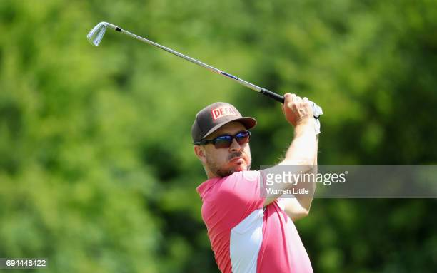 Mikko Korhonen of Finland plays his second shot on the 17th hole during day three of the Lyoness Open at Diamond Country Club on June 10 2017 in...