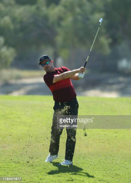 Mikko Korhonen of Finland plays his second shot on the 4th hole during day two of the Commercial Bank Qatar Masters at Doha GC on March 08 2019 in...
