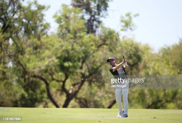 Mikko Korhonen of Finland plays his second shot on the 6th during Day Two of the Nedbank Golf Challenge hosted by Gary Player at Gary Player Golf...