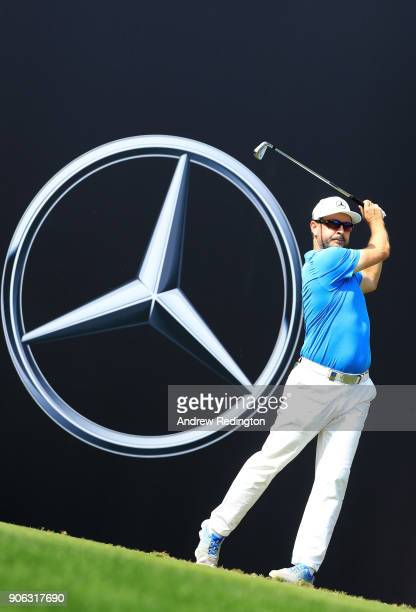 Mikko Korhonen of Finland plays his shot from the 12th tee during round one of the Abu Dhabi HSBC Golf Championship at Abu Dhabi Golf Club on January...