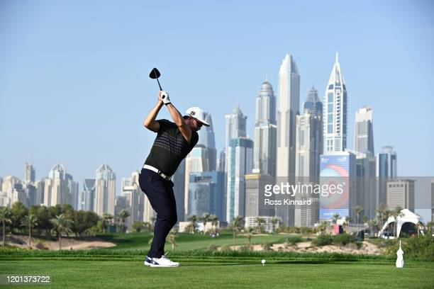 Mikko Korhonen of Finland plays his shot from the eighth tee during Day One of the Omega Dubai Desert Classic at Emirates Golf Club on January 23...