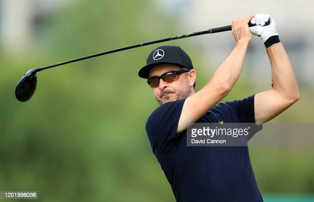 Mikko Korhonen of Finland plays his tee shot on the fifth hole during the second round of the Omega Dubai Desert Classic on the Majlis Course at The...