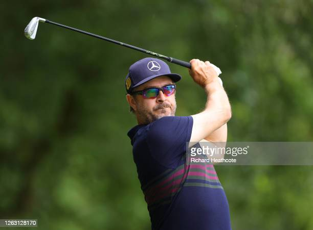 Mikko Korhonen of Finland plays his tee shot on the second hole during Day three of the Hero Open at Marriott Forest of Arden on August 01, 2020 in...