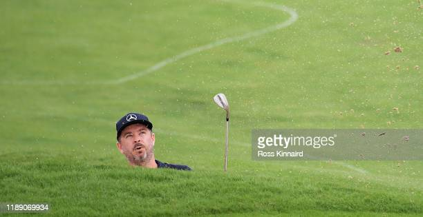 Mikko Korhonen of Finland plays his third shot on the 2nd hole during Day One of the DP World Tour Championship Dubai at Jumeirah Golf Estates on...