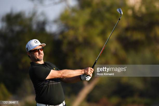 Mikko Korhonen of Finland plays his third shot on the third hole during Day One of the Omega Dubai Desert Classic at Emirates Golf Club on January 23...