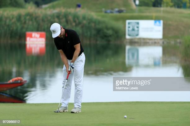 Mikko Korhonen of Finland plays his winning putt during day four of The 2018 Shot Clock Masters at Diamond Country Club on June 10, 2018 in...