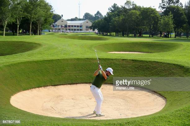 Mikko Korhonen of Finland plays out of an 18th fairway bunker during the third round of the Tshwane Open at Pretoria Country Club on March 4, 2017 in...