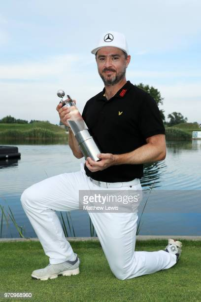 Mikko Korhonen of Finland pose for a photo with his trophy after winning The 2018 Shot Clock Masters during day four of The 2018 Shot Clock Masters...