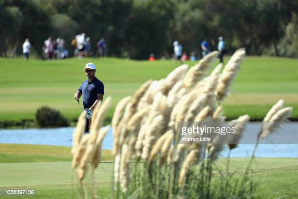 Mikko Korhonen of Finland putts on hole twelve during Day Four of the Portugal Masters at Dom Pedro Victoria Golf Course on September 23 2018 in...
