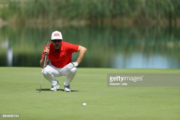 Mikko Korhonen of Finland putts on the 18th green during the final round of the Lyoness Open at Diamond Country Club on June 11 2017 in Atzenbrugg...