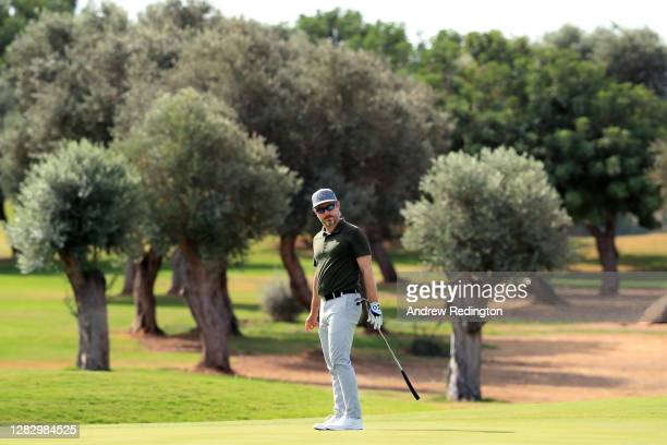 Mikko Korhonen of Finland putts on the 1st green during Day Two of the Aphrodite Hills Cyprus Open at Aphrodite Hills Resort on October 30, 2020 in...