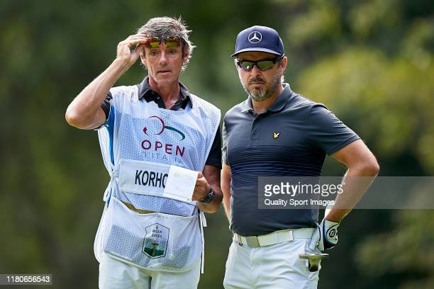 Mikko Korhonen of Finland talks with his caddie during Day three of the Italian Open at Olgiata Golf Club on October 12 2019 in Rome Italy