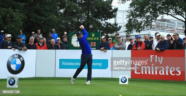 Mikko Korhonen of Finland tees off on the 10th hole during day one of the BMW International Open at Golf Club Gut Larchenhof on June 21 2018 in...