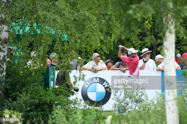 Mikko Korhonen of Finland tees off on the 10th hole during day two of the BMW International Open at Golfclub Munchen Eichenried on June 23 2017 in...
