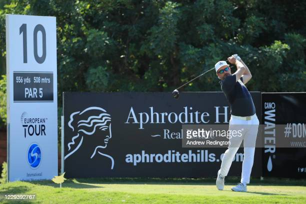 Mikko Korhonen of Finland tees off on the 10th hole during the final round of the Aphrodite Hills Cyprus Open at Aphrodite Hills Resort on November...