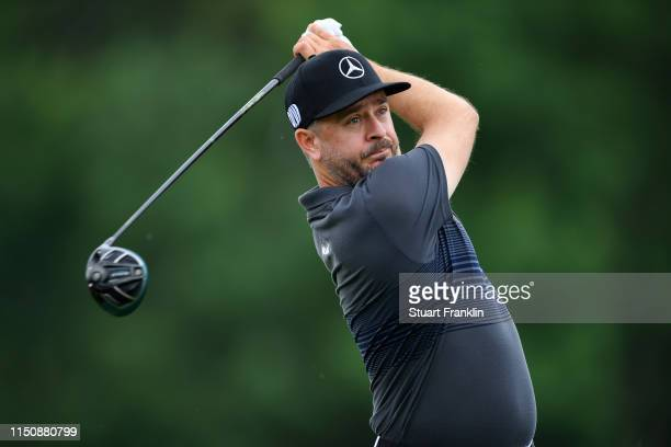 Mikko Korhonen of Finland tees off on the 11th hole during day one of the BMW International Open at Golfclub Munchen Eichenried on June 20, 2019 in...