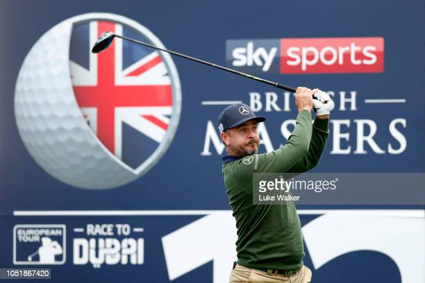 Mikko Korhonen of Finland tees off on the 12th hole during Day One of Sky Sports British Masters at Walton Heath Golf Club on October 11 2018 in...