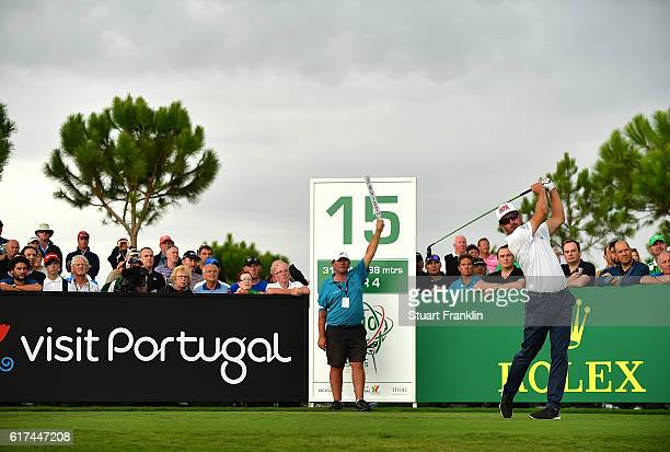 Mikko Korhonen of Finland tees off on the 15th hole during day four of the Portugal Masters at Victoria Clube de Golfe on October 23 2016 in...