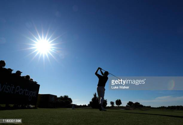 Mikko Korhonen of Finland tees off on the 15th hole during Day two of the Portugal Masters at Dom Pedro Victoria Golf Course on October 25 2019 in...