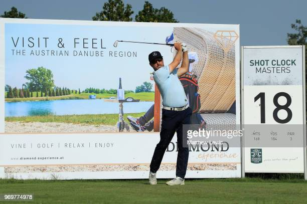 Mikko Korhonen of Finland tees off on the 18th hole during day two of The 2018 Shot Clock Masters at Diamond Country Club on June 8 2018 in...