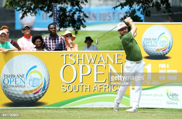 Mikko Korhonen of Finland tees off on the 1st during day three of the Tshwane Open at Pretoria Country Club on March 4 2017 in Pretoria South Africa