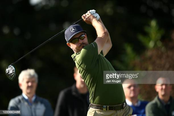 Mikko Korhonen of Finland tees off on the 2nd hole during day three of the KLM Open at The Dutch on September 15 2018 in Spijk Netherlands