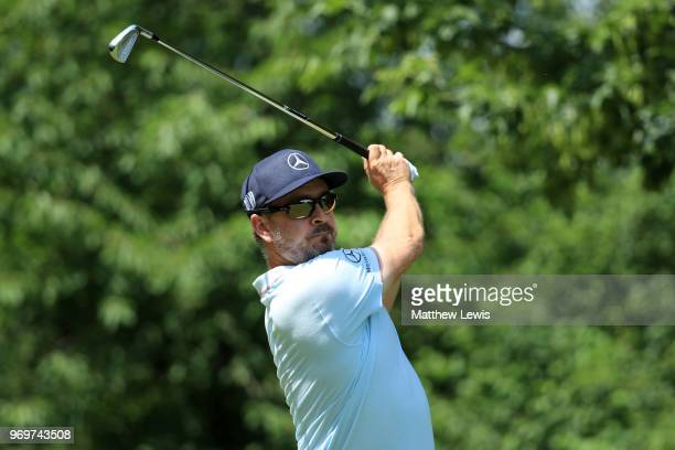 Mikko Korhonen of Finland tees off on the 2nd hole during day two of The 2018 Shot Clock Masters at Diamond Country Club on June 8 2018 in Atzenbrugg...